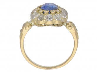 Antique Ceylon sapphire diamond ring berganza hatton garden