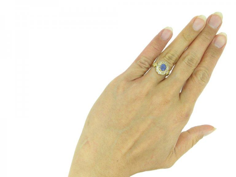 Antique Ceylon sapphire diamond ring berganza hatton garden