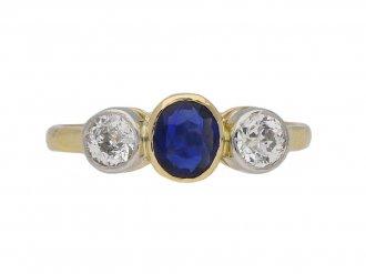 sapphire and diamond three stone ring berganza hatton garde