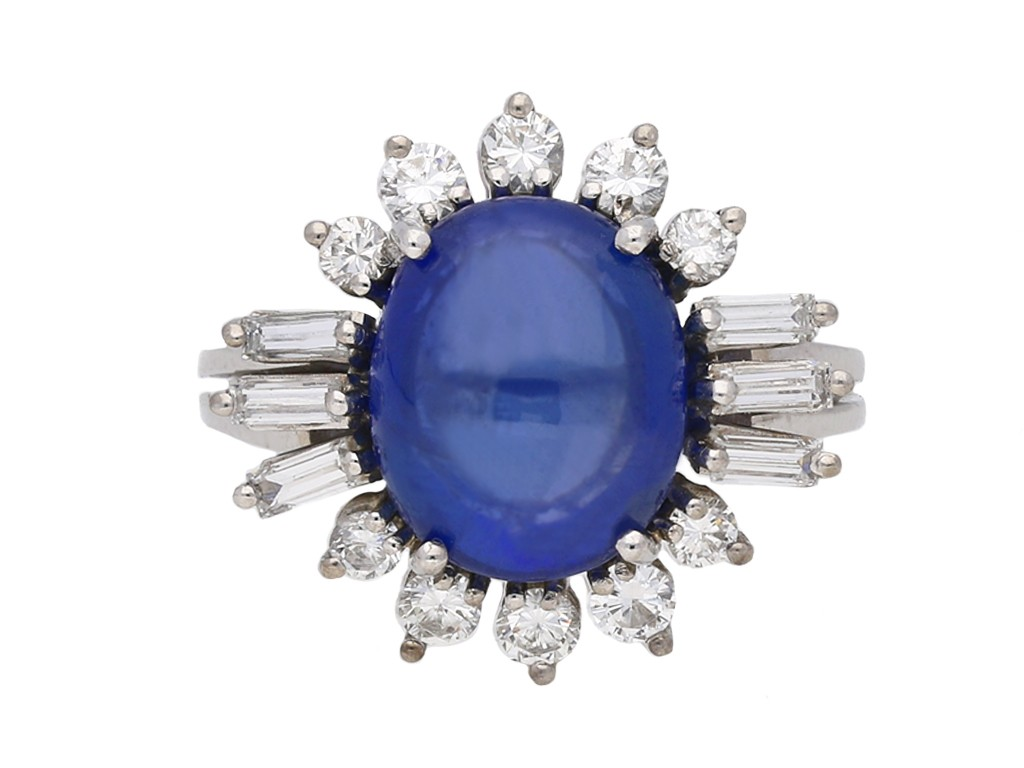 cabochon sapphire and diamond cluster ring berganza hatton garden