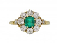 Antique emerald and diamond cluster ring berganza hatton gardeAntique emerald and diamond cluster ring berganza hatton garde