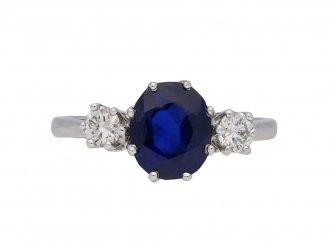 sapphire diamond three stone ring berganza hatton garden