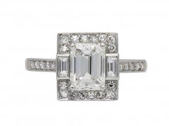 Art Deco emerald cut diamond cluster ring berganza hatton garden