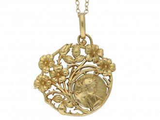 De Vernon Art Nouveau gold pendant berganza hatton garden