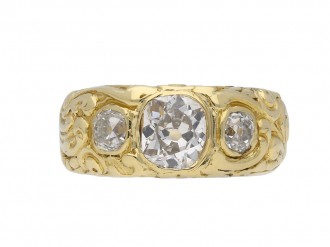 Victorian carved three stone ring berganza hatton garden