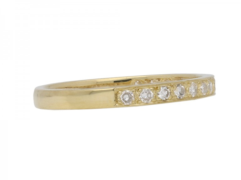 Diamond and yellow gold half eternity band berganza hatton garden