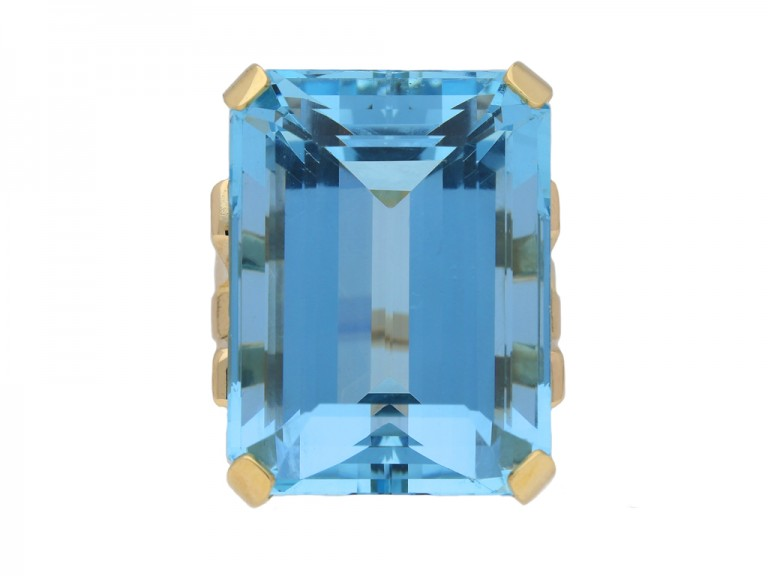 Vintage aquamarine cocktail ring berganza hatton garden