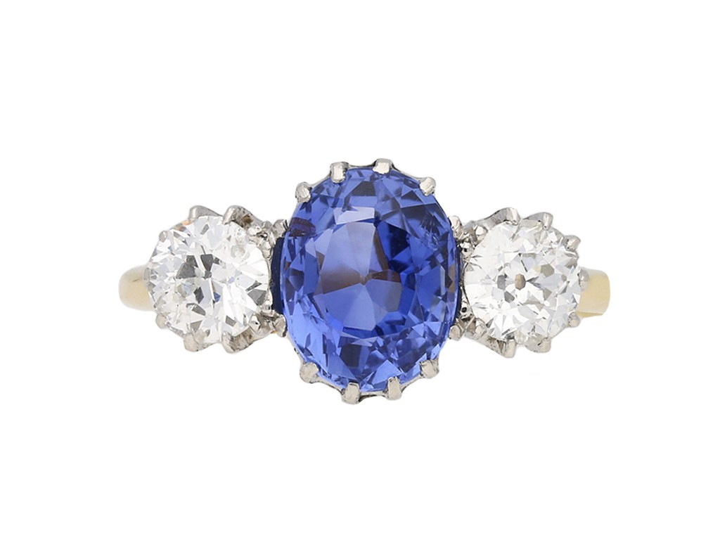 sapphire diamond three stone ring berganza hatton garden