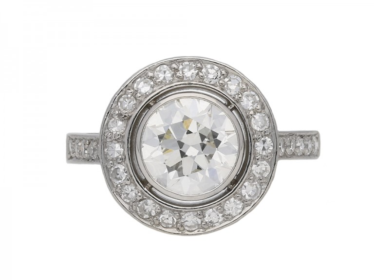 Art Deco diamond target ring berganza hatton garden