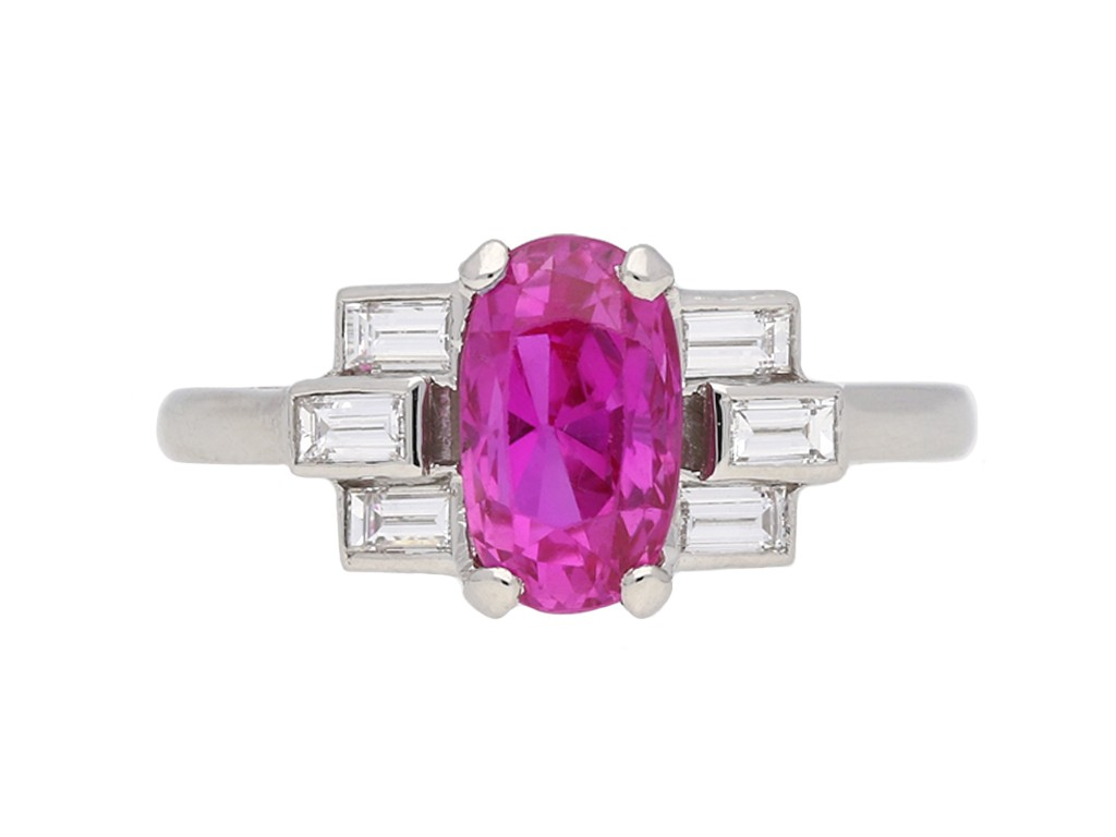 Art Deco pink sapphire and diamond ring berganza hatton garden