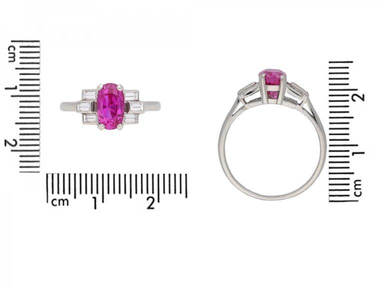 Art Deco pink sapphire and diamond ring berganza hatton garden