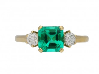 Edwardian three stone emerald diamond ring berganza hatton garden