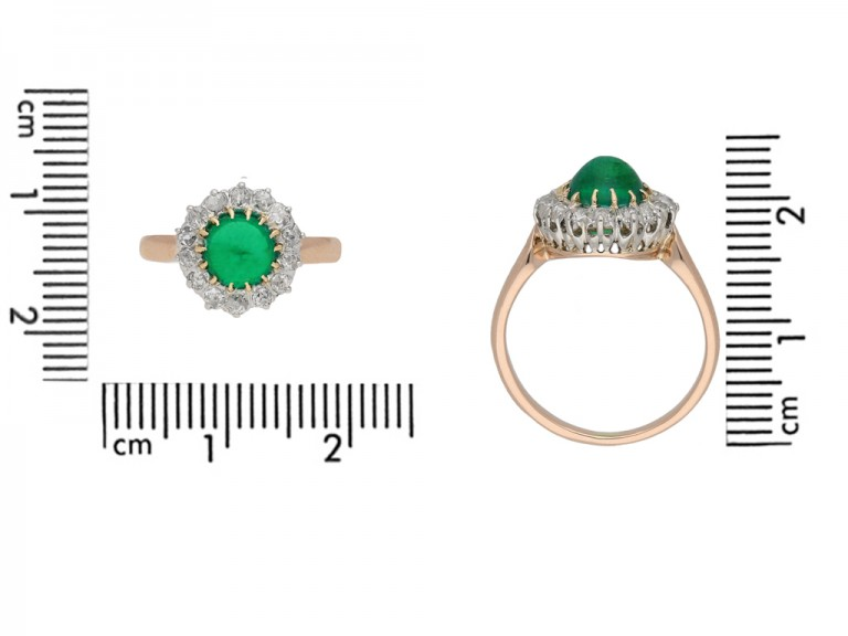 Belle Époque emerald diamond cluster ring berganza hatton garden