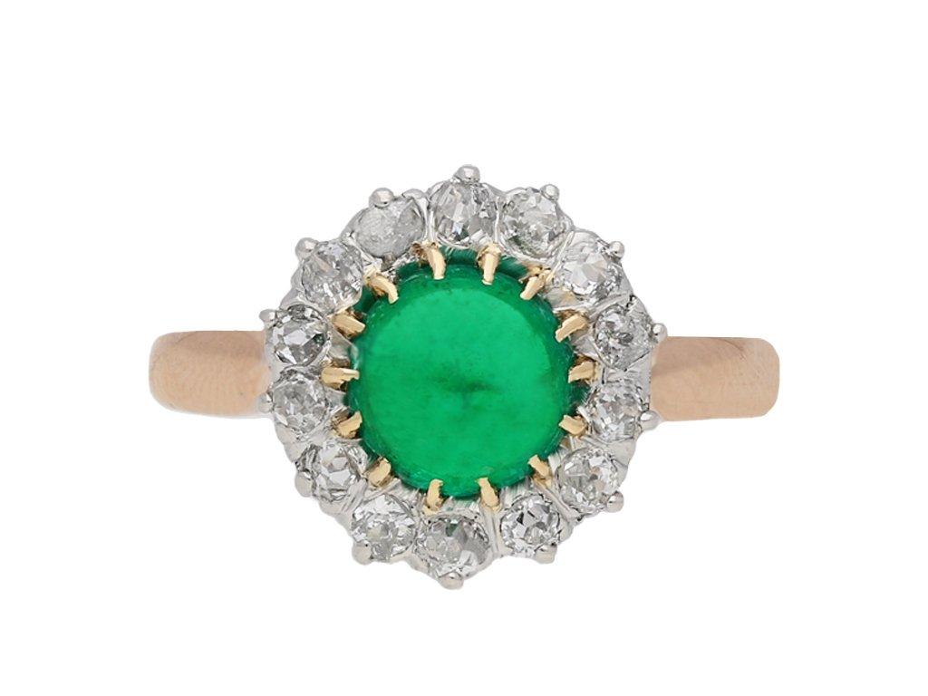 Belle Époque emerald diamond cluster ring berganza hatton garden