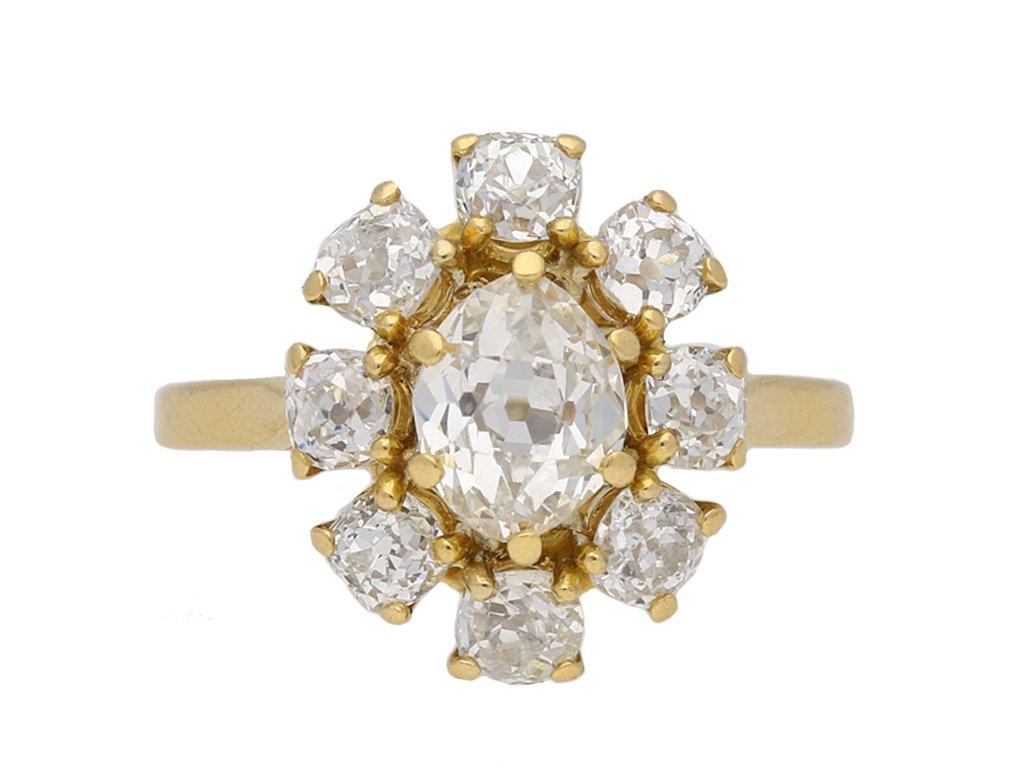 Vintage diamond coronet cluster ring berganza hatton garden