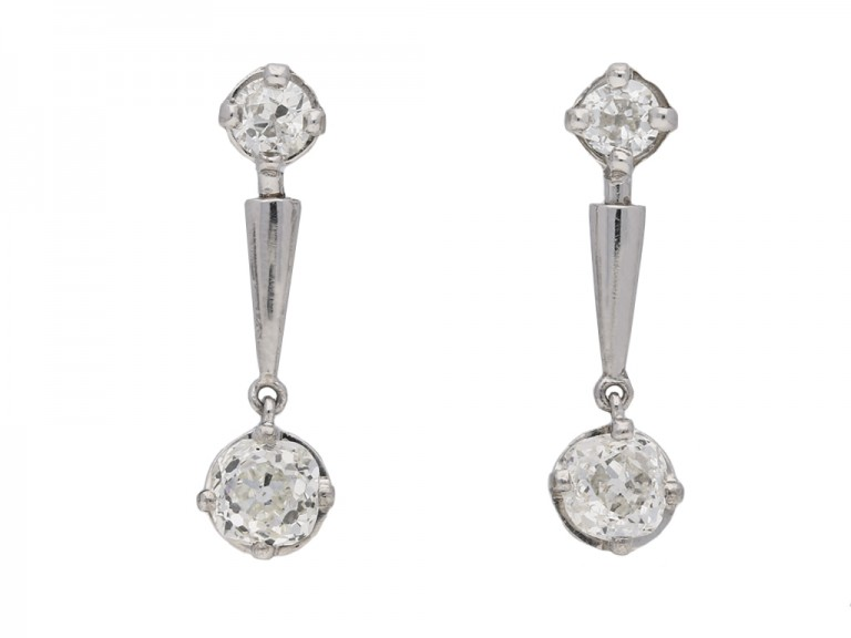 Art Deco diamond drop earrings berganza hatton garden