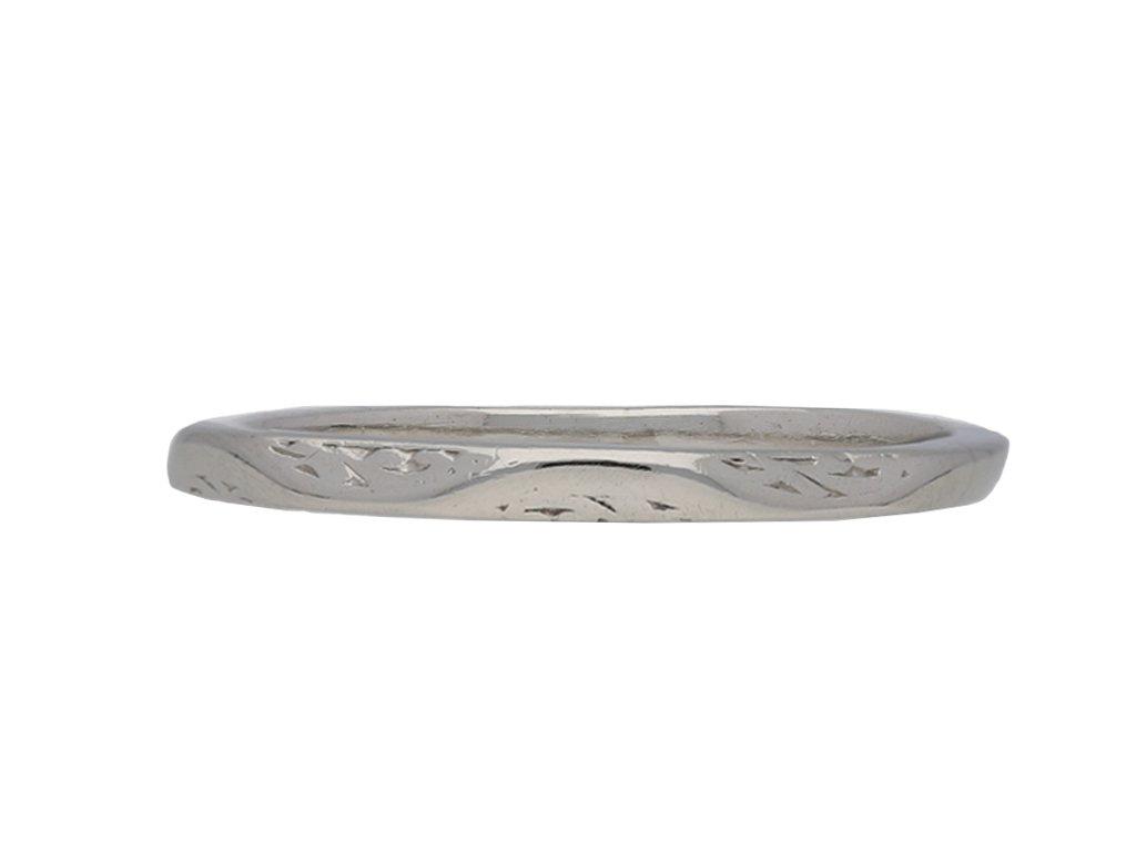 Vintage platinum engraved wedding berganza hatton garden