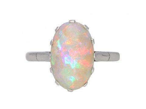 Vintage opal solitaire ring berganza hatton garden
