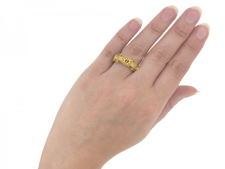 Medieval gold inscribed star ring berganza hatton garden