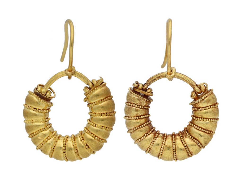 Ancient Greek earrings berganza hatton garden
