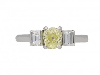 Art Deco fancy yellow diamond ring berganza hatton garden