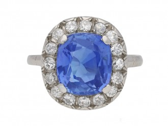 Belle Époque sapphire diamond cluster ring berganza hatton garden