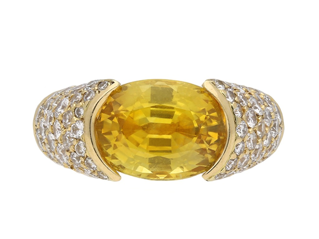 Yellow sapphire and diamond ring berganza hatton garden
