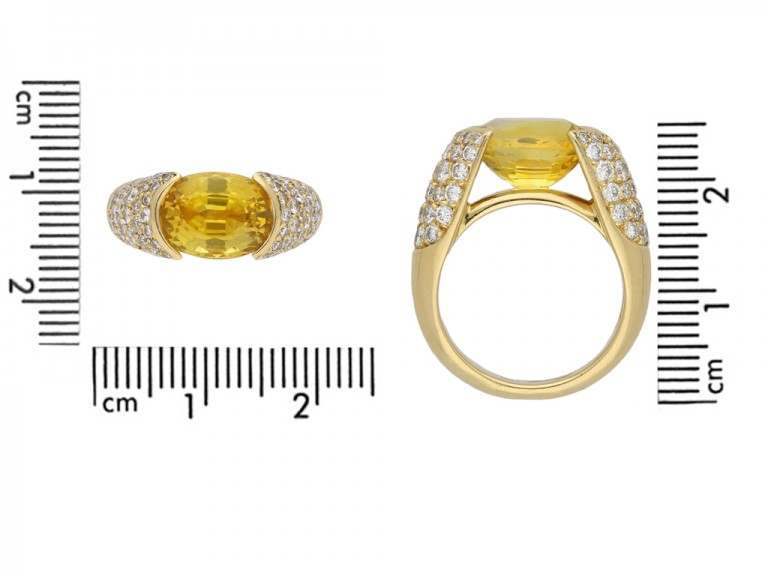Yellow sapphire and diamond ring berganza hatton garden