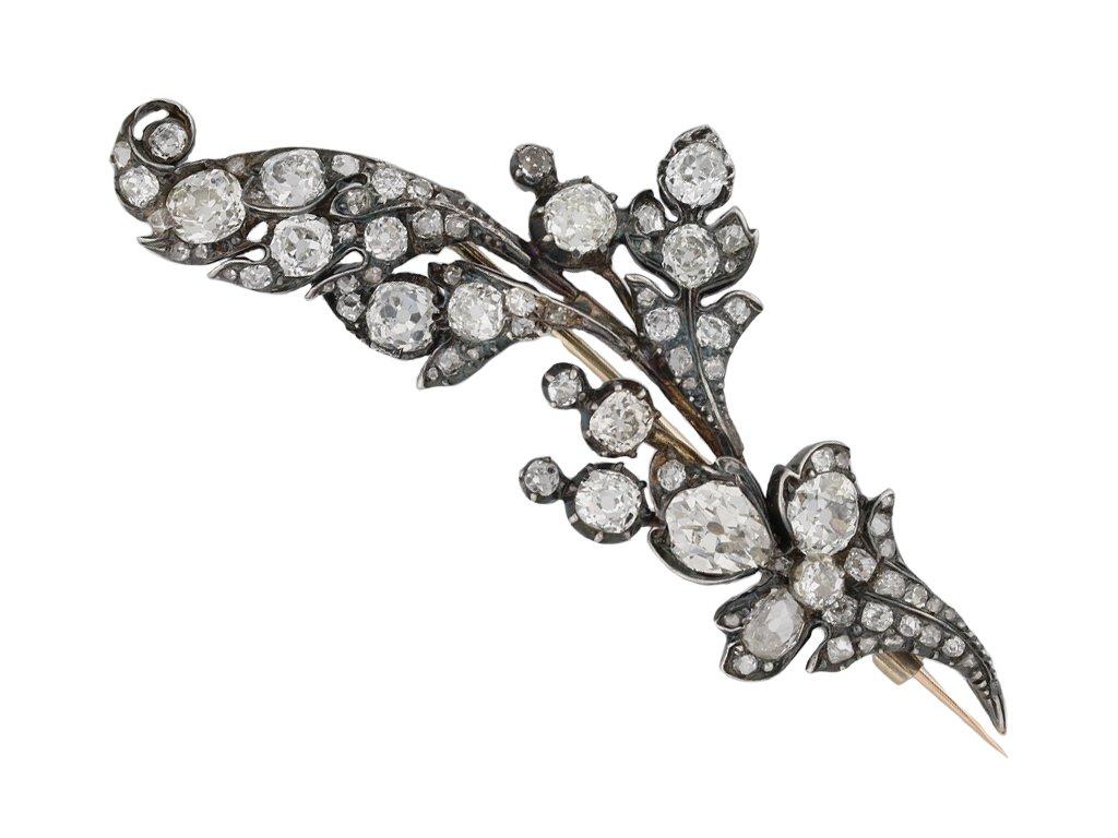 Victorian Diamond Set Foliate Brooch berganza hatton garden