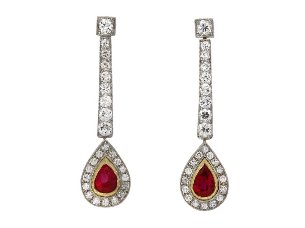 Edwardian Burmese ruby diamond earrings berganza hatton garden
