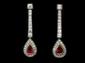 Edwardian Burmese ruby diamond earrings berganza hatton garden