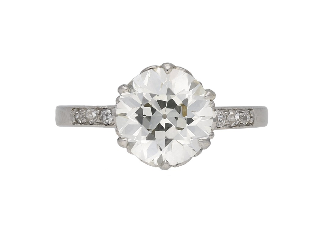 Edwardian flanked solitaire diamond ring berganza hatton garden