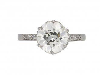 Edwardian flanked solitaire diamond ring berganza hatton garden