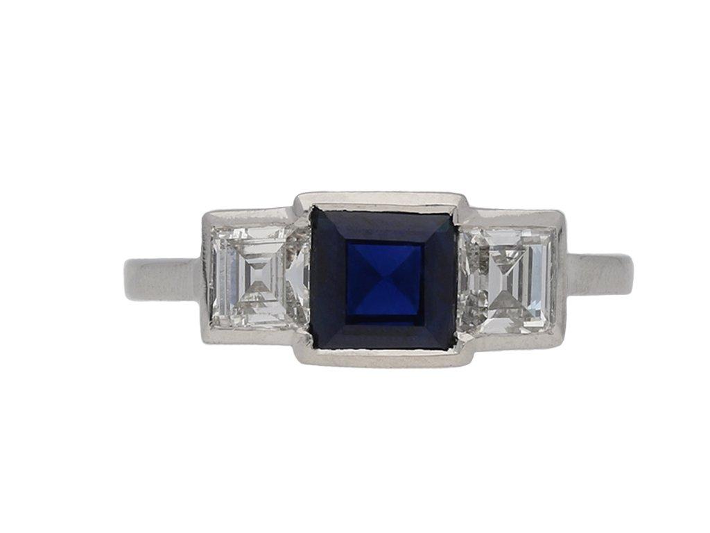Art Deco sapphire and diamond ring, berganza hatton garden
