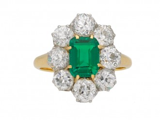 Edwardian Colombian Emerald Cluster Ring berganza hatton garden