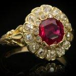Belle Époque Burmese ruby and diamond coronet cluster ring, circa 1895.