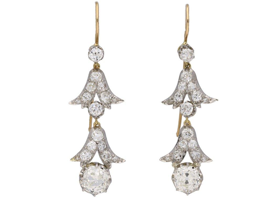 Edwardian diamond drop earrings berganza hatton garden