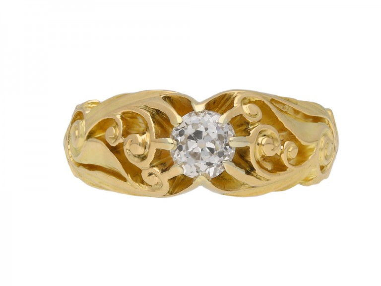 Art Nouveau diamond solitaire ring berganza hatton garden