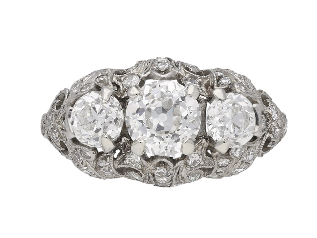 Ornate Edwardian Diamond Ring berganza hatton garden