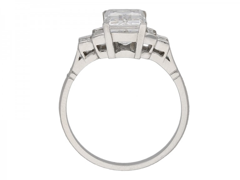 Art Deco Step Cut Diamond Ring berganza hatton garden