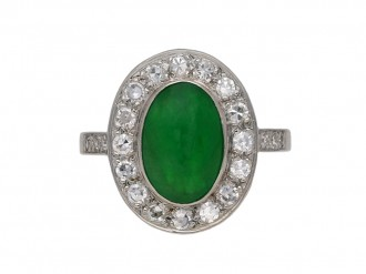 Vintage jade and diamond cluster ring berganza hatton garden