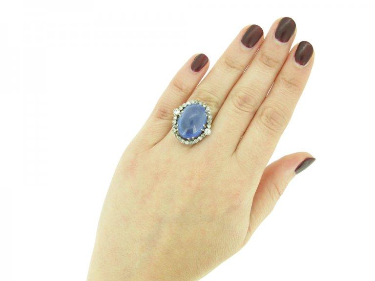 Cabochon Ceylon sapphire diamond ring berganza hatton garden