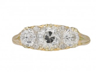 Victorian three stone diamond carved ring berganza hatton garden