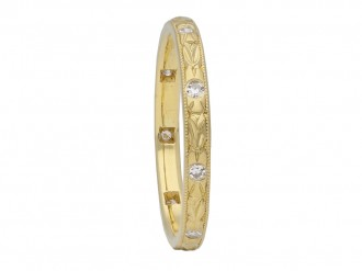 Engraved yellow gold diamond set band berganza hatton garden