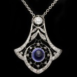 Belle Époque colour change sapphire and diamond pendant, circa 1905.