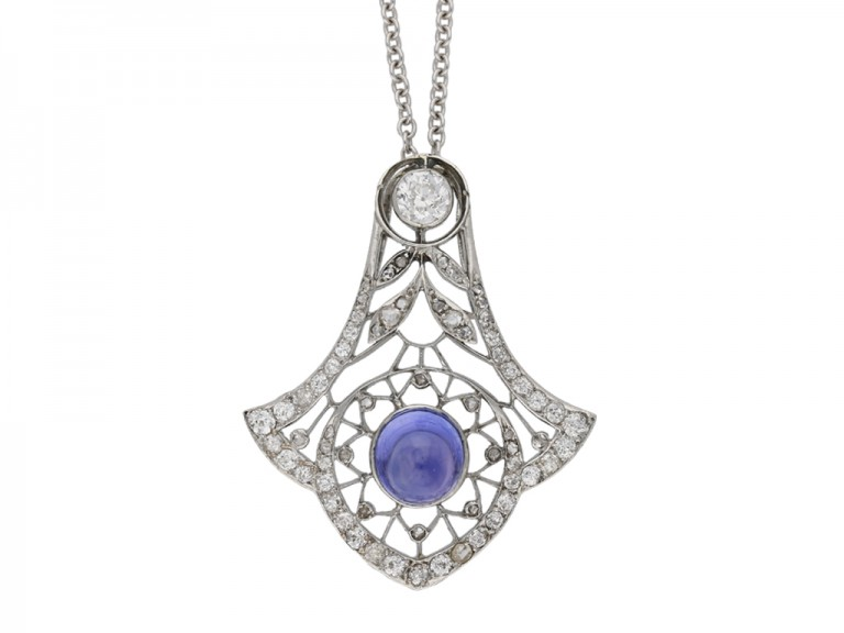 Belle Époque sapphire diamond pendant berganza hatton garden