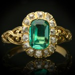 Belle Époque Colombian emerald and diamond coronet cluster ring, circa 1895.