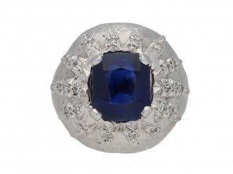Vintage sapphire and diamond bombé ring berganza hatton garden