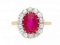 Edwardian Burmese ruby diamond cluster ring berganza hatto garden