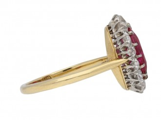 Edwardian Burmese ruby diamond cluster ring berganza hatto garden